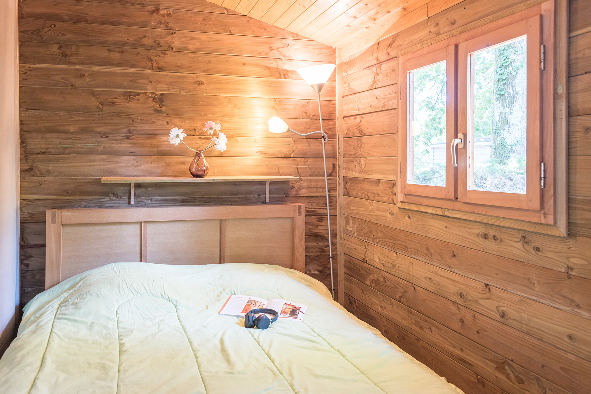 chambre cosy dans logement en bois mobil home Bidart Pays Basque Camping Le Ruisseau