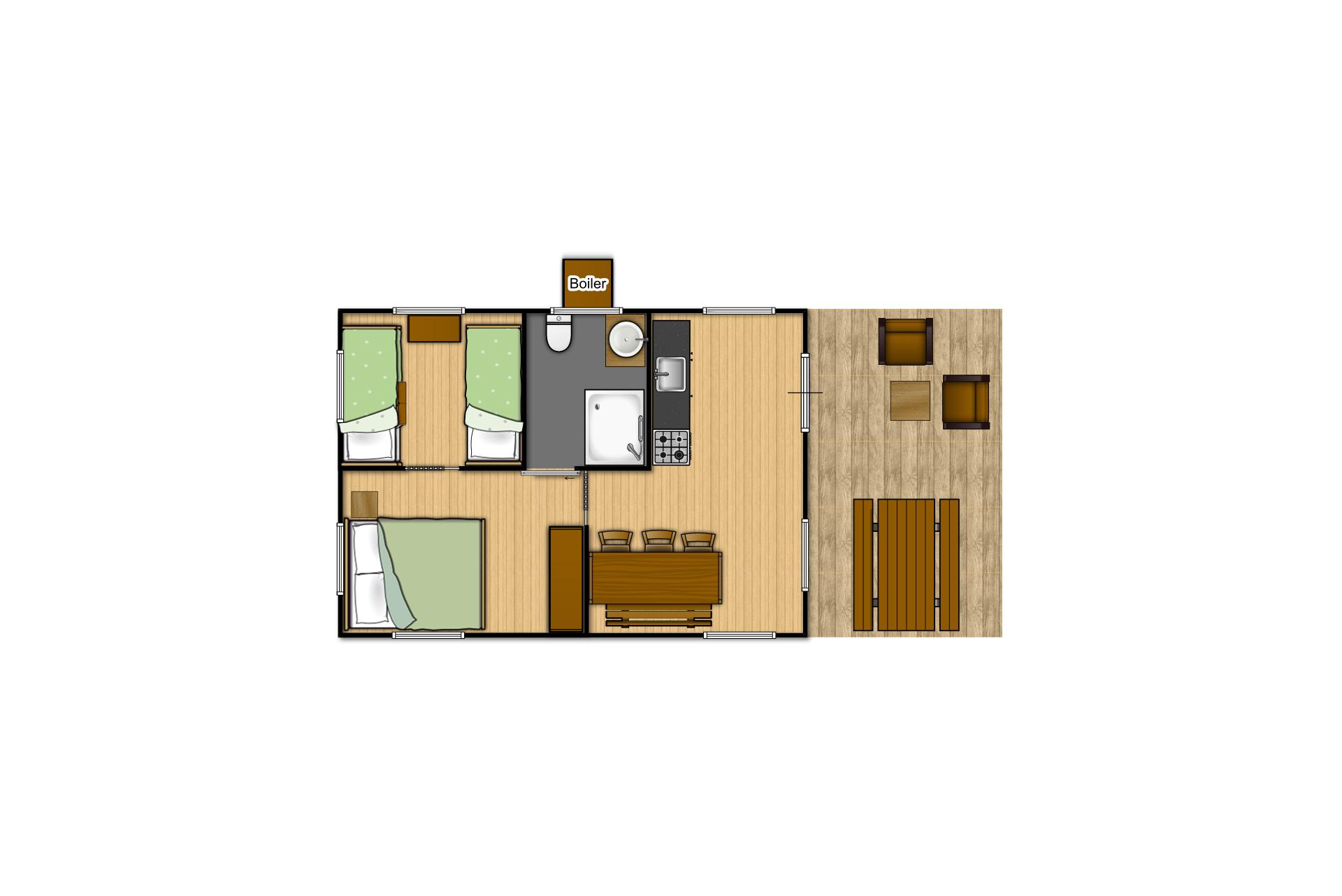 Plan détaillé mobil-home aménagé