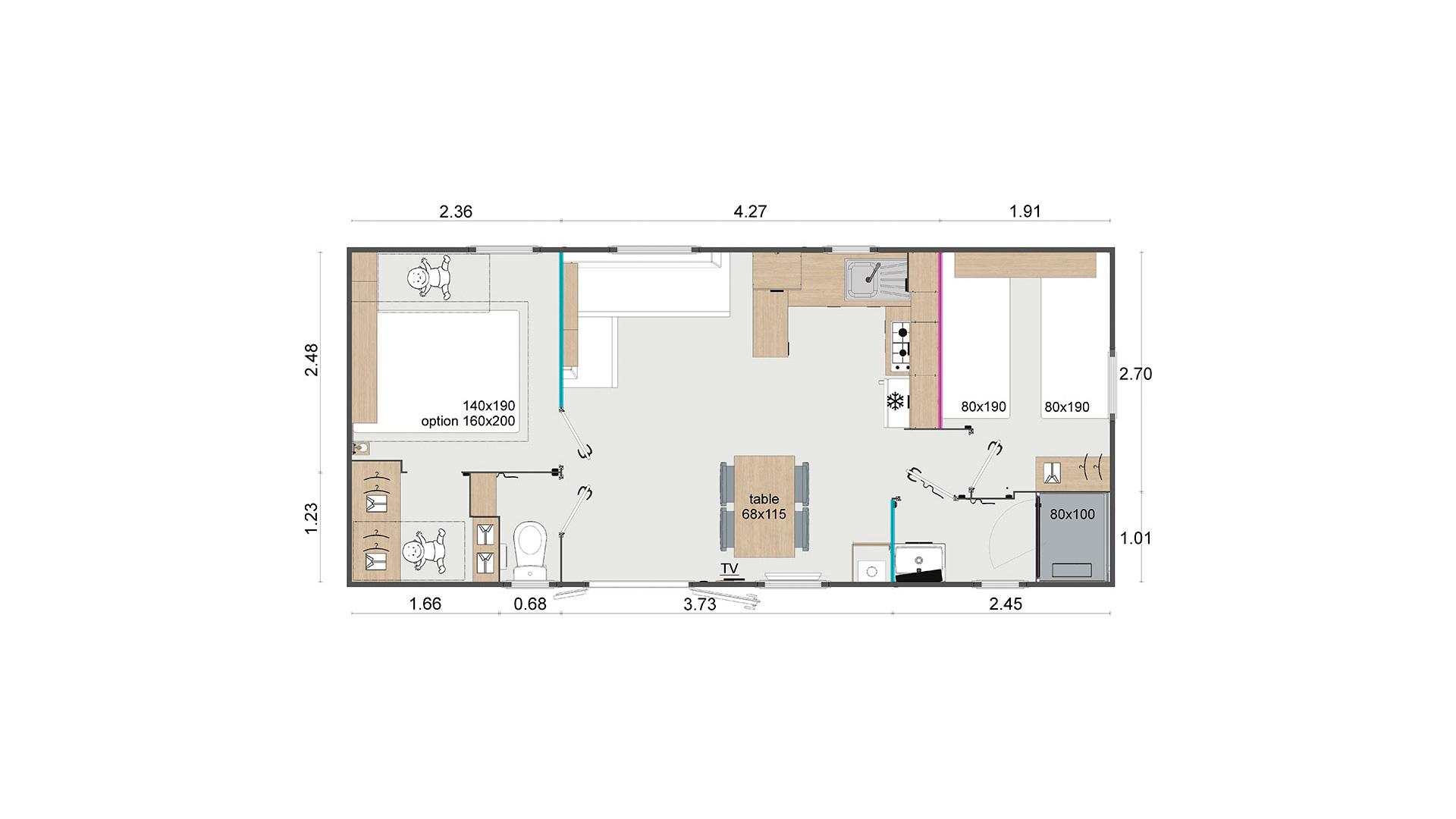 Plan du Modèle Duo vente de mobil home Bidart Camping Le Ruisseau