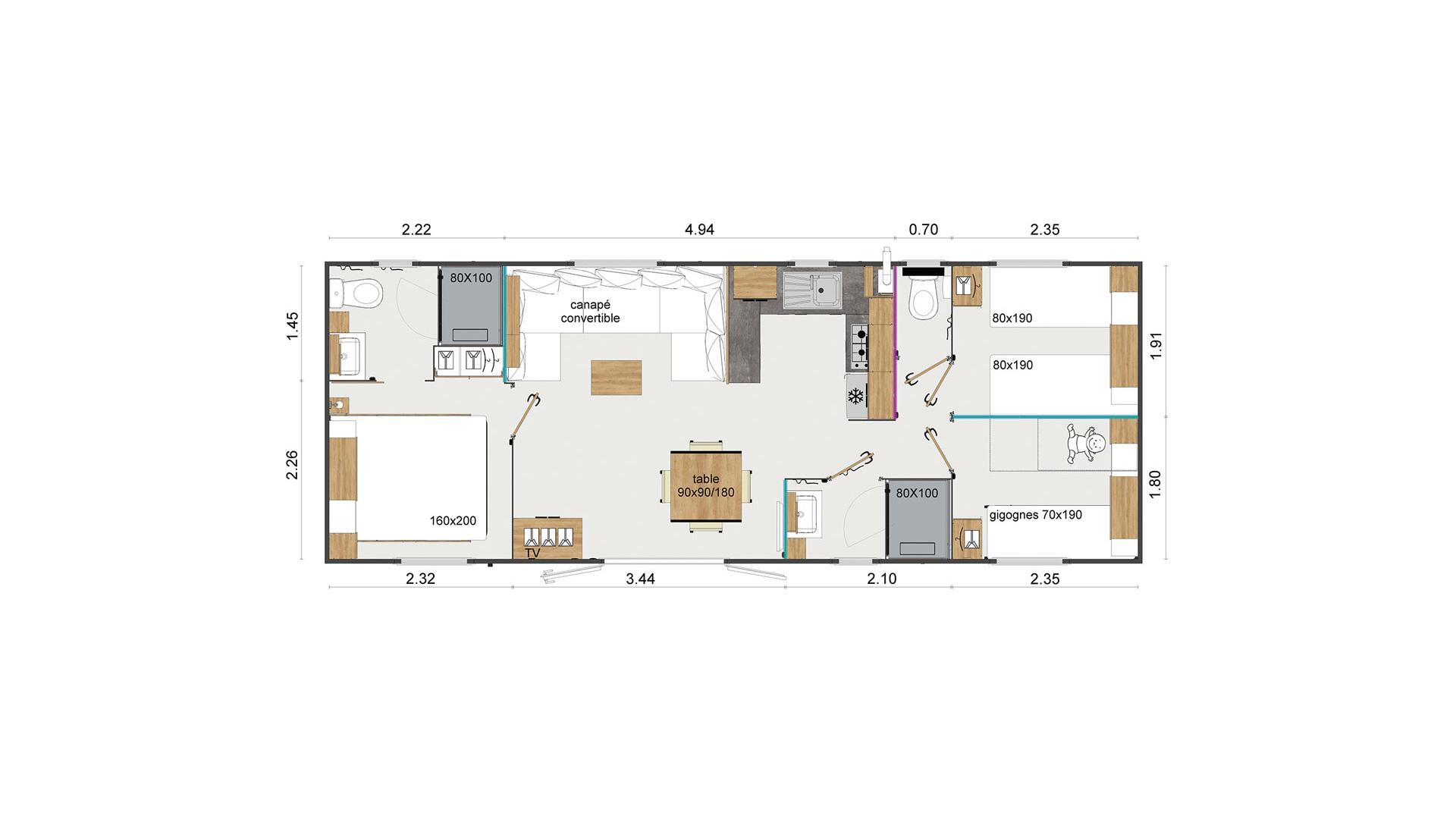 Plan détaillé vente de mobil home Bidart Camping Le Ruisseau