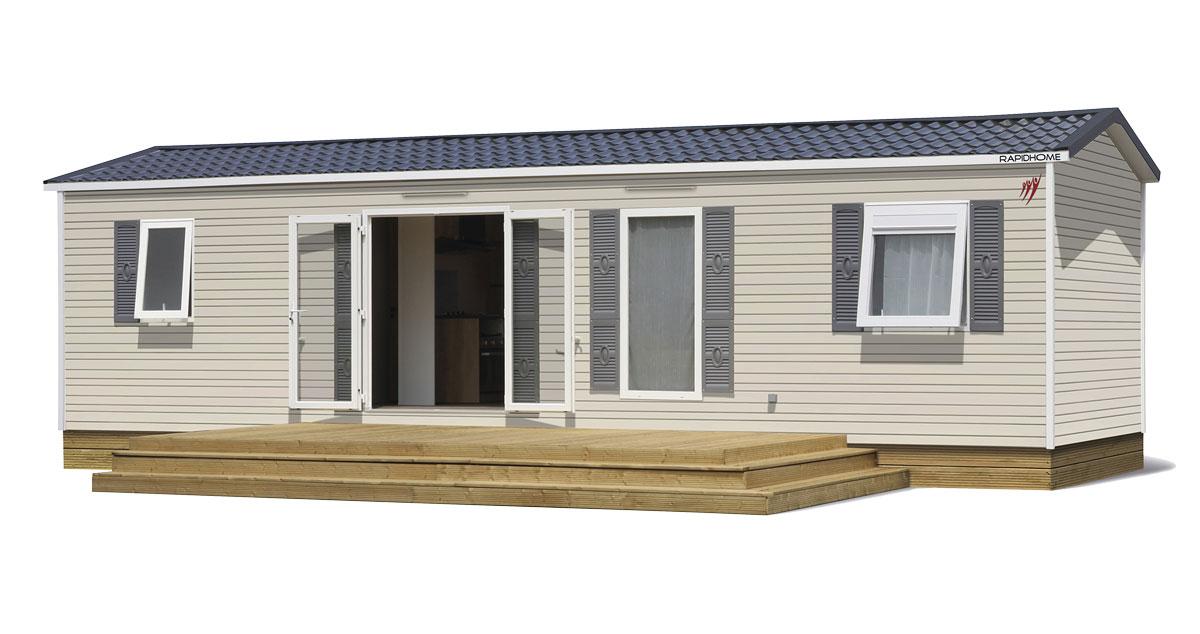 Plan 3d de l'extiereur du mobil home vente de mobil home Bidart Camping Le Ruisseau