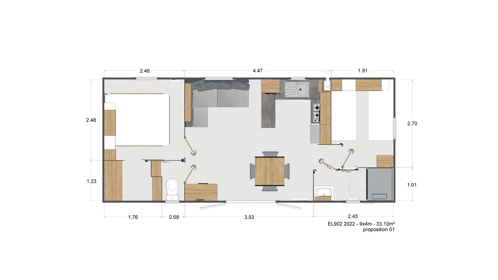 Plan du bungalow Modèle Luxe vente de mobil home Bidart Camping Le Ruisseau