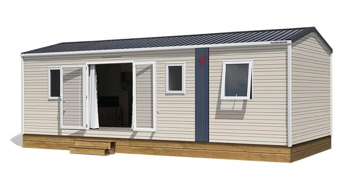 Image du mobil home vu de l'exterieur vente de mobil home Bidart Camping Le Ruisseau