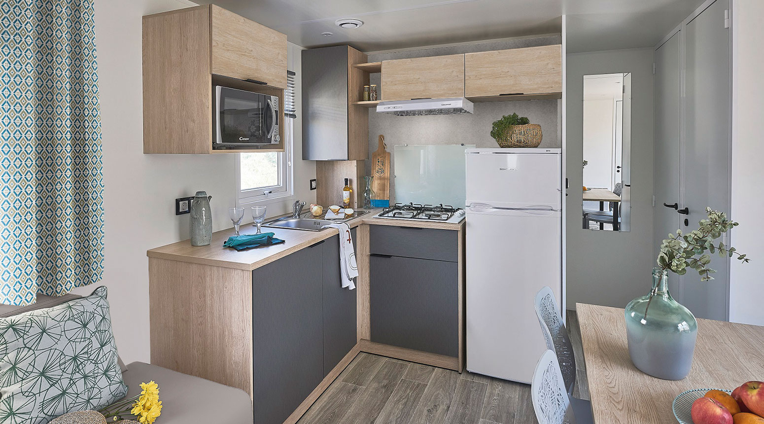 Coin cuisine du mobil home vente de mobil home Bidart Camping Le Ruisseau