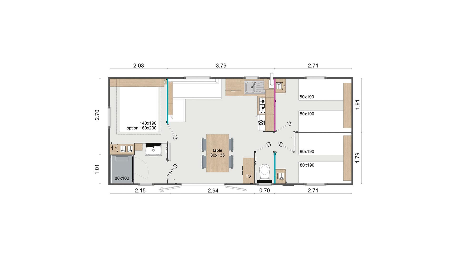 Plan du Modèle Trio vente de mobil home Bidart Camping Le Ruisseau
